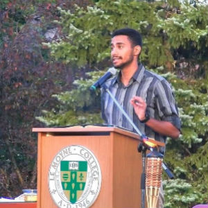 Le Moyne Student Speaking at Event